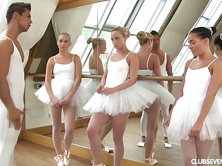 three youthfull lil' ballerinas share manmeat of teacher surcease deportment